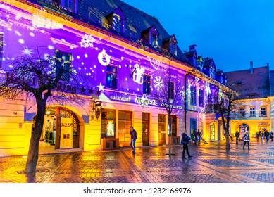 Sibiu, Romania - November 2017: Sibiu Christmas Market, largest in Romania, Transylvania landmark.