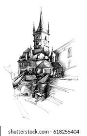 Sibiu Romania pen graphic sketch