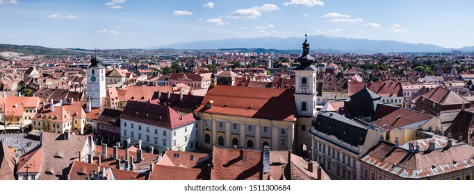 Sibiu, Romania - September 21, 2019. Aerial view over the city  from Saint Mary Lutheran Cathedral in Sibiu city, Romania