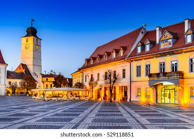 Sibiu, Romania. Twilight image of Council Tower in Large Square, Transylvania.