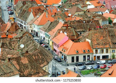 Sibiu roofs. Aerial view of Sibiu town in Transylvania, Romania, with typical tiled roof tops