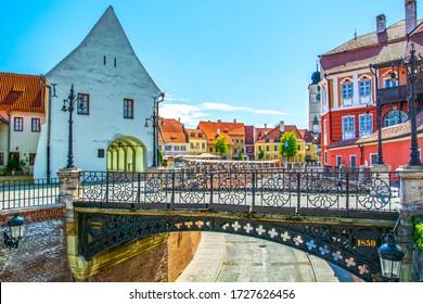 Sibiu, Transylvania, Romania, the Liars Bridge and view of Small Square and Council Tower