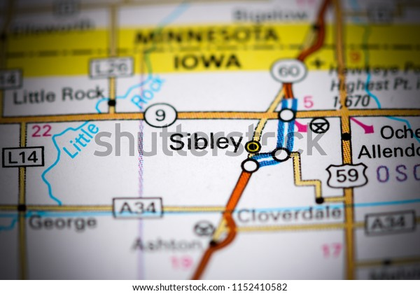 Sibley. Iowa. USA on a map