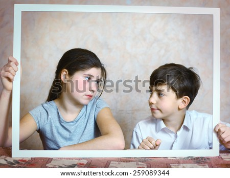 Siblings Brother Sister Cute Portrait Frame Stock Photo (Edit Now ...