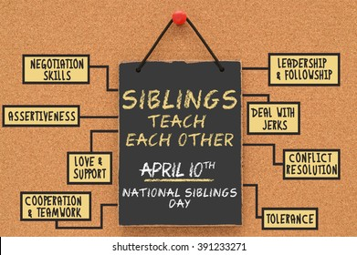 Siblings Day Siblings Teach Each Other (Negotiation Skills, Assertiveness, love. Support, Cooperation & Teamwork, Leadership, Deal with Jerks, Conflict Resolution, Tolerance) Black Board on cork board