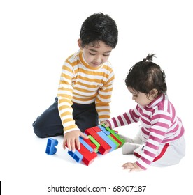 Siblings Playing with Blocks, Isolated, White