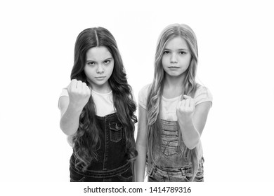 Siblings relations. Sisterhood goals. Sisters little kids isolated white background. Sisterly relationship. Sisterhood happiness and issues. Girls confident sisters. Sisterhood support or competition.