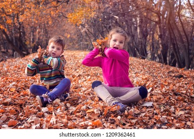 Siblings throwing leaves and having fun in autumnal forest
