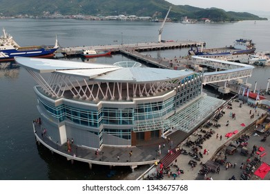 SIBOLGA,NORTH SUMATRA/INDONESIA - MARCH 17, 2019: Activities in the port of Sibolga, North Sumatra. Design of Sibolga Port has won in an Asia and Pacific competition.