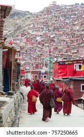 SICHUAN, CHINA - Apr 20 2016: Monks at Larung Gar Lamasery (Larung Gar Buddhist Academy). a famous holy site in Seda, Ganzi, Sichuan, China.