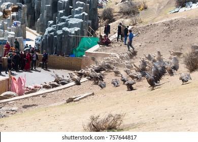 SICHUAN, CHINA - Apr 20 2016: Tibetan Buddhist Sky Burial in Larung Gar Lamasery (Larung Gar Buddhist Academy). a famous holy site in Seda, Ganzi, Sichuan, China.