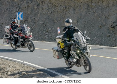 Sichuan, China - April 15, 2017:Many motorcycles from Thailand  driving to a snow mountain the local people call Shambhala in Sichuan,China.