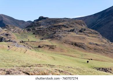 SICHUAN, CHINA - May 04 2016: Grassland at Xinduqiao Tibetan Town. a famous landscape in Xinduqiao, Ganzi, Sichuan, China.