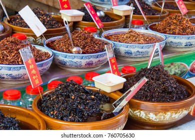 SICHUAN, CHINA - May 11 2016: Chinese Food at Huanglongxi Ancient Town. a famous historic site in Chengdu, Sichuan, China.