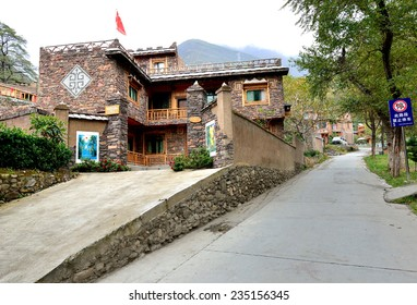 Sichuan, China - October 27, 2013 : Building in Pingtou Qiang Village which is locatd at Maoxian China.
