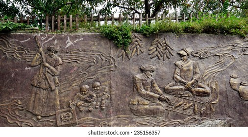 Sichuan, China - October 27, 2013: 3D art on the street wall of Pingtou Qiang Village, Maoxian Sichuan