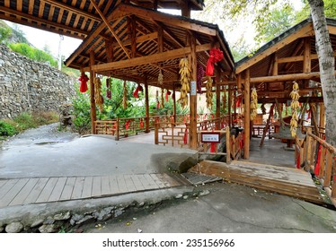 Sichuan, China - October 27, 2013: Interior of the watermill which is located at Pingtou Qiang Village, Maoxian Sichuan