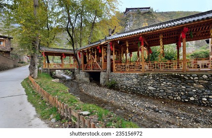 Sichuan, China - October 27, 2013: Exterior of the watermill which is located at Pingtou Qiang Village, Maoxian Sichuan