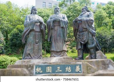 SICHUAN, CHINA - Sep 15 2016: Statues of Guan Yu, Liu Bei and Zhang Fei (Oath of the Peach Garden) in Mianyang, Sichuan, China.