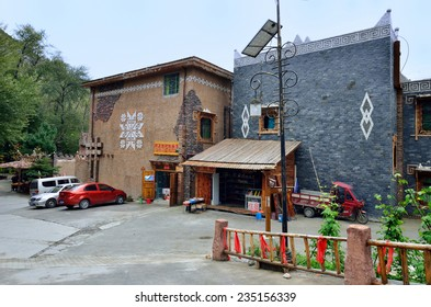 Sichuan,China - October 27, 2013: There are some retail and hostel at Pingtou Qiang Village, Maoxian Sichuan