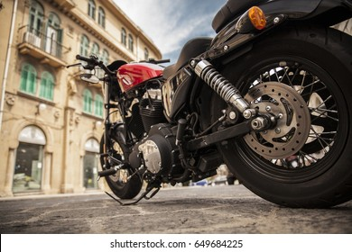 Sicilia, Italy - May 30, 2015: Motorcycle at the street in Sicilla, Italy