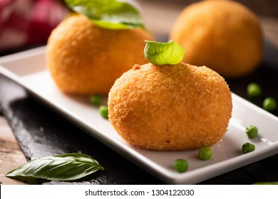 Sicilian arancini rice and meat close up