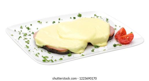 Sicilian aubergines on white dish