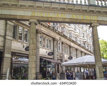 SICILIAN AVENUE,HOLBORN, LONDON, UK- 2 MAY 2017:  Shops, cafes and pedestrians