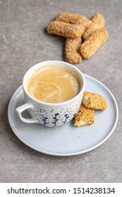 Sicilian biscuits and cappuccino for breakfast