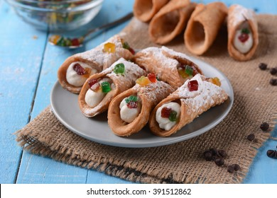 Sicilian cannoli with candied fruit - Traditional Italian dessert