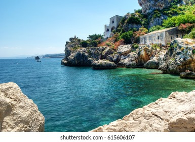 Sicilian coast with crystal clear water at Scopello, Sicily, Italy