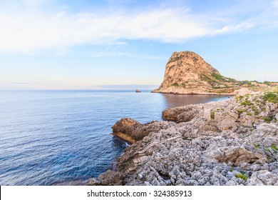 Sicilian Coastline in the Evening. Deep blue sea. Lovely water at Bagheria near Palermo in Italy at the Mediterranean sea
