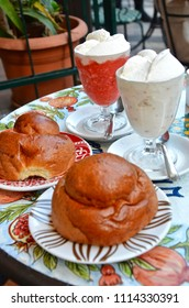 Sicilian granita with cream and brioche