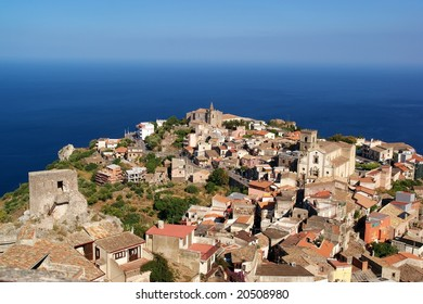 Sicilian historical city on the rock over Ionian sea