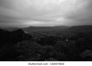 Sicilian Landscape, Black and White