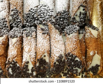Sicilian pastry with cannoli cream and dark chocolate chips