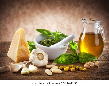 Sicilian pesto ingredients on wooden table