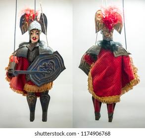 Sicilian puppet , antique Italian Sicilian Knight in amour puppet  / Italian  puppet