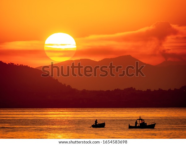Sicilian Sunrise. Morning at the Palermo harbor on the italian island of Sicily
