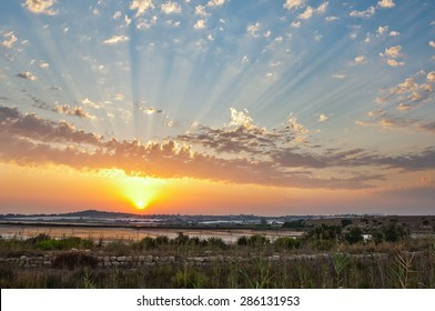 Sicilian sunset with crepuscular rays
