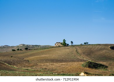 Sicilian tillable field from highway