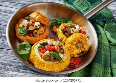 Sicilian veggie dish caponata, in pattypan squash
