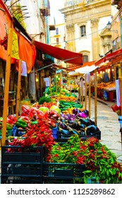 Sicily food street market bazaar. Colorful vegetables traditional stall, Travel Italy