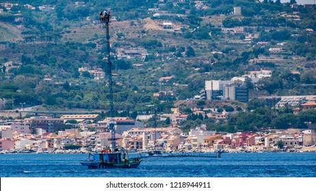 Sicily, Italy - July 12, 2017: Swordfish fishing boats  in Messina Straits