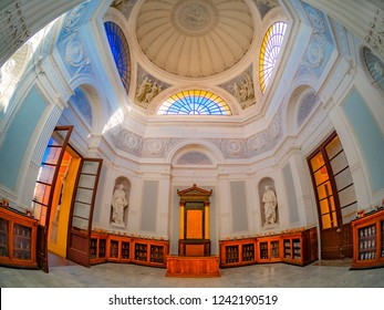 Sicily, Palermo, Italy - September 15, 2018: Inside the main building of Orto Botanico di Palermo, educational institution of Department of Botany, University