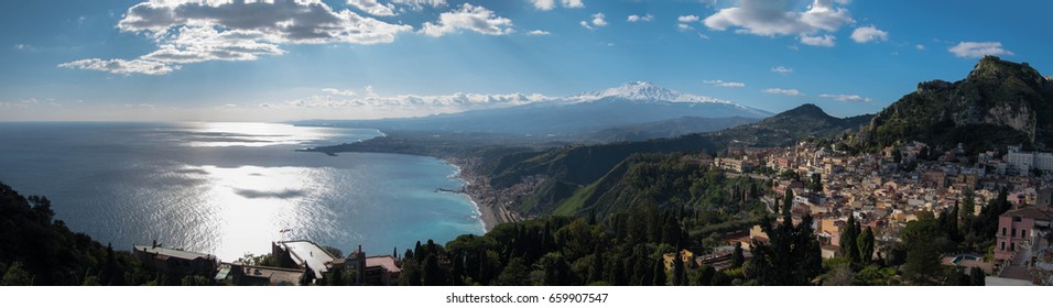 Sicily panorama with Etna Volcano