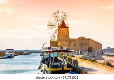 Sicily, Trapani wind mill sea salt production, Italy.