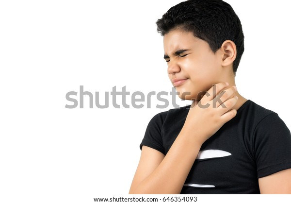 Sick boy with a sore throat isolated on white