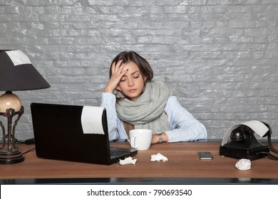 a sick business woman can not focus on work