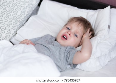 Sick kid images stock photos vectors shutterstock sick child boy laying in bed and mom hand taking temperature mother checking temperature of altavistaventures Gallery
